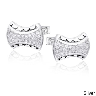 Link to Icz Stonez Rhodium-plated Cubic Zirconia Free-form Cuff Links Similar Items in Men's Jewelry