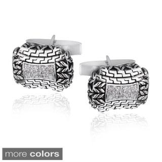 Icz Stonez Rhodium-plated Cubic Zirconia Greek Design Cuff Links