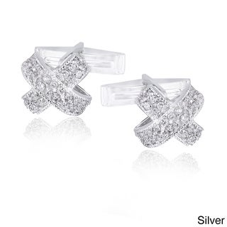 Link to Icz Stonez Rhodium-plated Cubic Zirconia X-Design Cuff Links Similar Items in Men's Jewelry