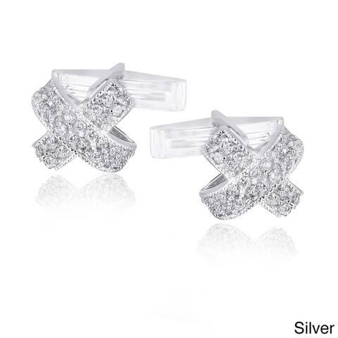 Icz Stonez Rhodium-plated Cubic Zirconia X-Design Cuff Links