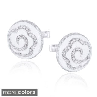 Icz Stonez Rhodium-plated Cubic Zirconia and Enamel Floral Cuff Links