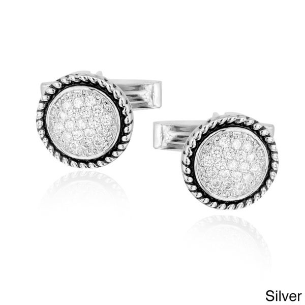Icz Stonez Rhodium-plated Cubic Zirconia Round Cuff Links. Opens flyout.