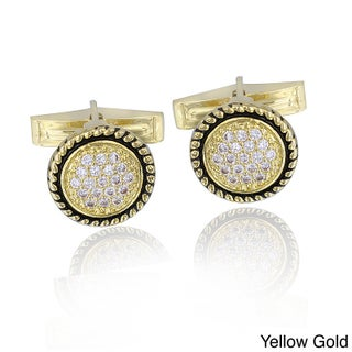Icz Stonez Rhodium-plated Cubic Zirconia Round Cuff Links