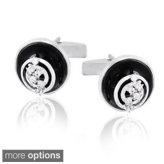 Glitzy Rocks Rhodium-plated Onyx and Cubic Zirconia Round Cuff Links