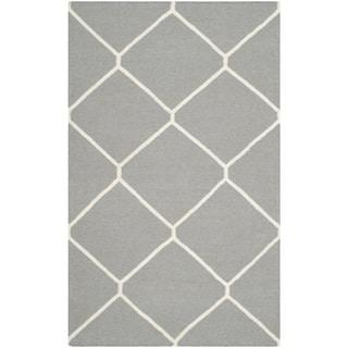 Safavieh Handwoven Moroccan Reversible Dhurries Grey/ Ivory Wool Accent Rug (2' 6 x 4')