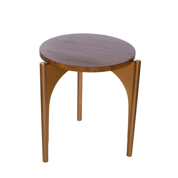 Reclaimed Teak And Reclaimed Steel Tripod End Table (Indonesia)