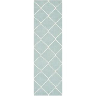 Safavieh Hand-woven Moroccan Reversible Dhurries Light Blue/ Ivory Wool Rug (2'6 x 8')