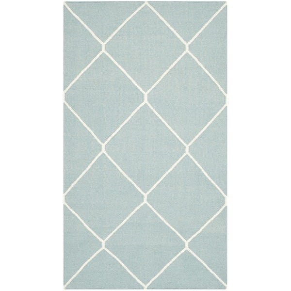 Safavieh Hand-woven Moroccan Reversible Dhurries Light Blue/ Ivory Wool Rug (2'6 x 4')