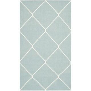 Safavieh Hand-woven Moroccan Reversible Dhurries Light Blue/ Ivory Wool Rug (3' x 5')