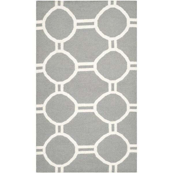 Safavieh Hand-woven Moroccan Reversible Dhurries Grey/ Ivory Wool Rug - 2'6 x 4'