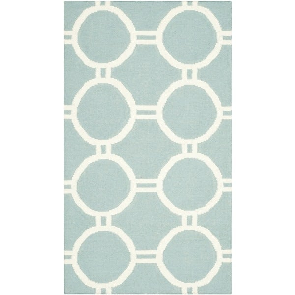 Safavieh Hand-woven Contemporary Moroccan Reversible Dhurries Light Blue/ Ivory Wool Rug - 2'6 x 4'