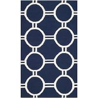 Safavieh Hand-woven Moroccan Reversible Dhurries Navy/ Ivory Wool Rug - 2'6 x 4'