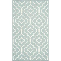 Safavieh Hand-woven Moroccan Reversible Dhurries Geometric Light Blue/ Ivory Wool Rug - 2'6 x 4'