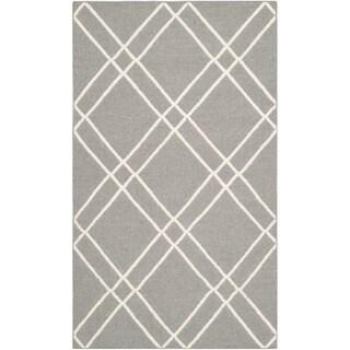 Safavieh Hand-woven Moroccan Reversible Dhurries Grey/ Ivory Wool Rug (2'6 x 4')