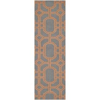 Safavieh Hand-woven Moroccan Reversible Dhurries Blue/ Orange Wool Rug (2'6 x 8')