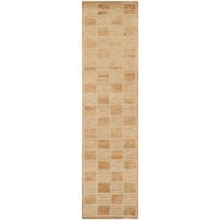 Safavieh Hand-knotted Tibetan Geometric Apricot/ Beige Wool Rug (2'6 x 12')