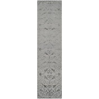 Safavieh Hand-knotted Tibetan Iron Scrolls Pewter Wool/ Silk Rug (2'6 x 10')