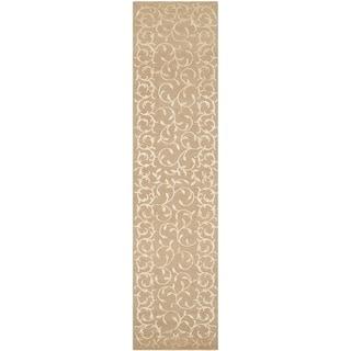 Safavieh Hand-knotted Tibetan Scrolling Vines Beige Floral Wool/ Silk Rug (2'6 x 10')