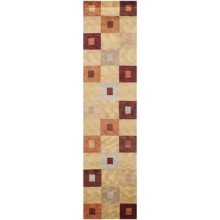 Safavieh Hand-knotted Tibetan Abstract Geometric Vegetable Dye Multicolored Wool Rug (2'6 x 10')