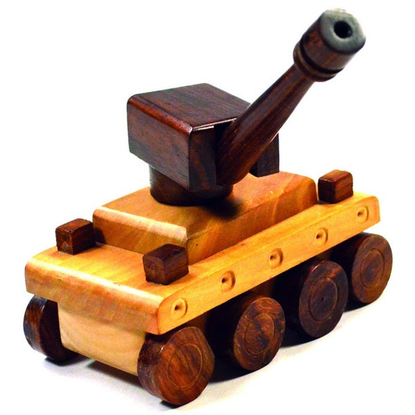 Handcrafted Wooden Tank Toy (India)