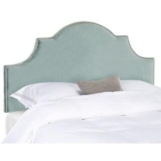 Safavieh Hallmar Wedgwood Blue Cotton Upholstered Arched Headboard - Silver Nailhead (Full)
