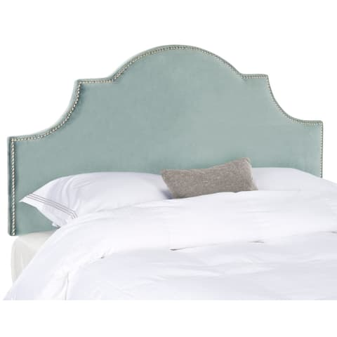 Safavieh Hallmar Wedgwood Blue Cotton Upholstered Arched Headboard - Silver Nailhead (Full)