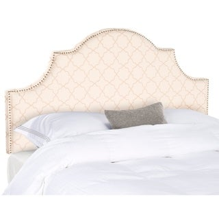 Safavieh Hallmar Pale Pink/ Beige Upholstered Arched Headboard - Silver Nailhead (Full)