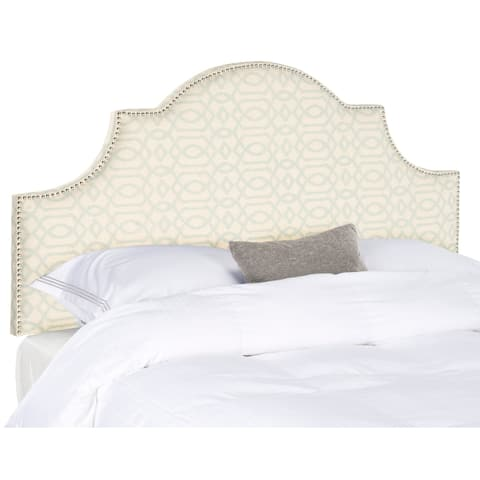 Safavieh Hallmar Silver/ Cream Upholstered Arched Headboard - Silver Nailhead (Full)