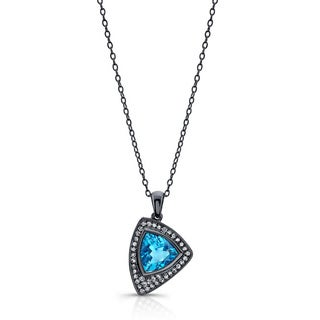 Black-plated Silver Blue Topaz and 1/5ct TDW Diamond Necklace (J-K, I2-I3)