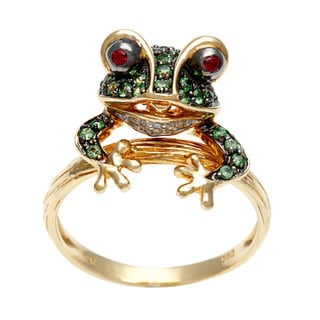 Neda Behnam 14k Yellow Gold Ruby, Tsavorite and Diamond Accent Frog Ring