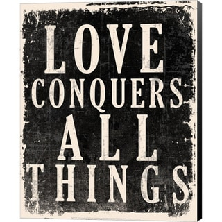 'Love Conquers All - Voltaire Quote' Canvas Art