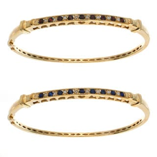 10k Yellow Gold Gemstone and Diamond Accent Bangle Bracelet