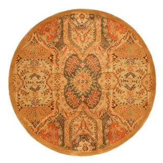 Hand-tufted Wool Gold Traditional Oriental Piazza Rug (7'9 Round)
