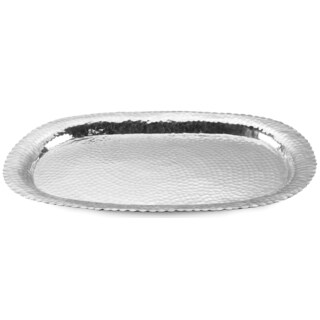 31-inch Large Hammered Aluminum Oval Decorative Tray