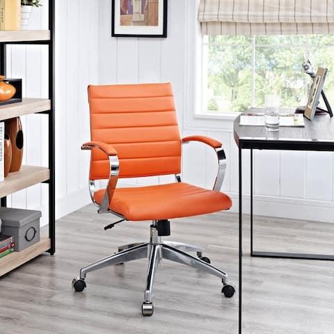 Jive Black Ribbed Vinyl Mid-back Executive Office Chair