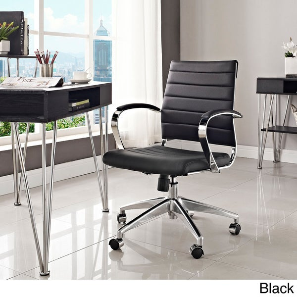 Jive Black Ribbed Vinyl Mid Back Executive Office Chair