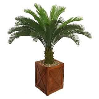 Laura Ashley 57-inch Tall Cycas Palm Tree in Fiberstone Planter