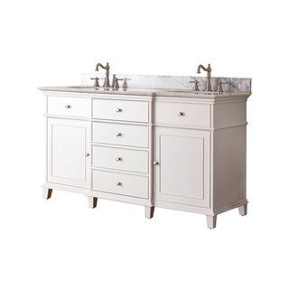 Avanity Windsor 60-inch Double Vanity in White Finish with Dual Sinks and Top