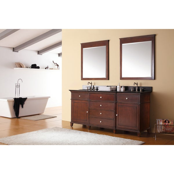 avanity windsor 72inch double vanity in walnut finish with dual sinks and top free shipping today