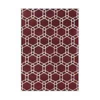 Hand-made Lipstick Red Wool Rug (5' x 8') - 5' x 8'