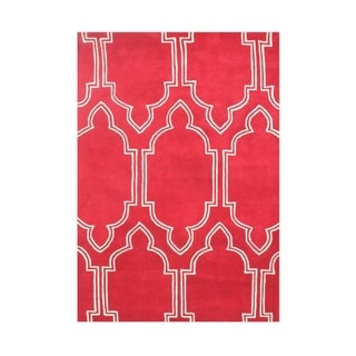 Hand-made Red Wool Rug (5' x 8')