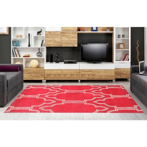 Hand-made Red Wool Rug - 8' x 10'