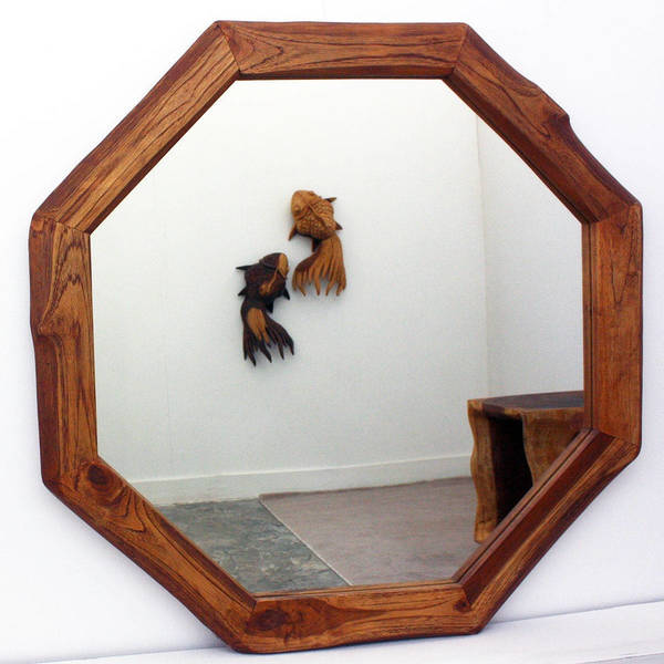 Handcrafted 34 Inch Teak Octagon And Dia Oak Oil Mirror