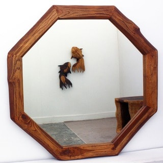 Handcrafted 34-inch Teak Octagon and DIA Oak Oil Mirror , Handmade in Thailand