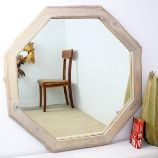 Handmade 34-inch Teak and Agate Grey Oil Octagon Mirror (Thailand)