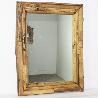 Handmade 25 x 32-inch Teak Branch and Teak Oil Mirror (Thailand)