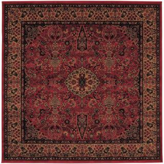 Power-Loomed Delta Linsey Crimson Ultra-Fine Polypropylene Rug (3'11 Square)