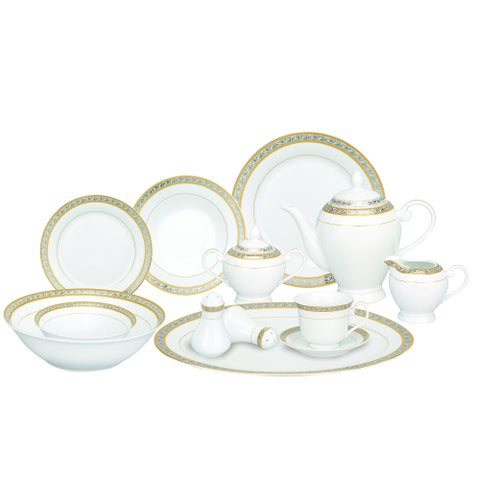 Silver and Gold Accent Porcelain Dinnerware Set of 54