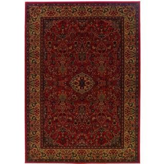 Power-Loomed Delta Linsey Crimson Ultra-Fine Polypropylene Rug (3'11 x 5'3)