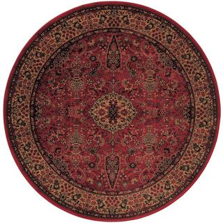 Power-Loomed Delta Linsey Crimson Ultra-Fine Polypropylene Rug (7'10 Round)